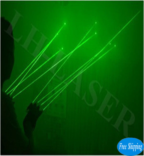 Free Shipping Green Color Finger Laser Gloves