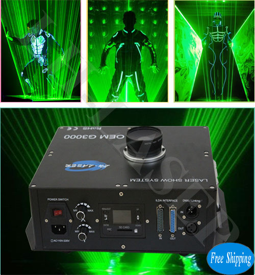 Free Shipping 3000MW Green LaserMan With SD Card