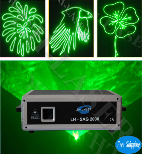 Free Shipping 2000mW 45K Green Animation Laser