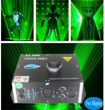 Free Shipping 3000MW PC Controlled SD Card Green LaserMan Projector
