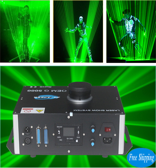Free Shipping 5W Single Green SD Card LaserMan