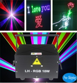 Free Shipping 10 Watts DMX512+ILDA SD Card RGB Animation Laser