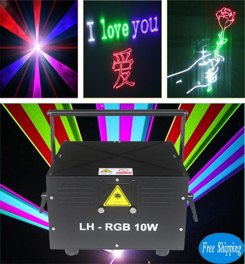 Free Shipping DMX512 10 watt SD card ILDA laser