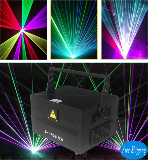 Free Shipping 15W Big Power PC Controlled Analog RGB SD Card Laser Lights