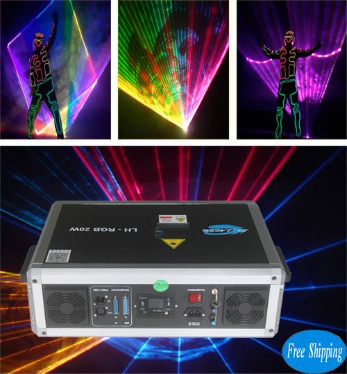 Free Shipping ILDA+SD Card 20W mulit color RGB Disco Laser Light
