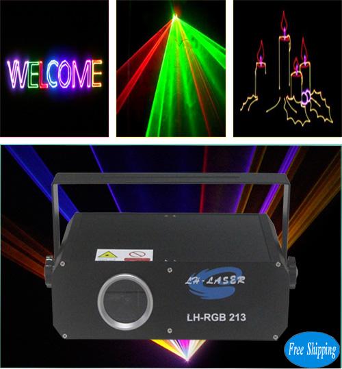 Free Shipping 1.2W TTL Modulation RGB Animation SD Card Laser Light