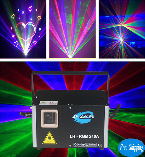 Free Shipping 2W Network RJ45 SD Card RGB Laser Disco Lighting
