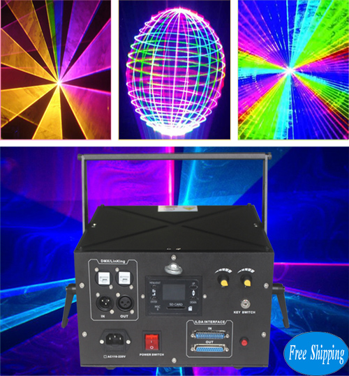 Free Shipping ILDA 4.5W Analgo Modulation 45K RGB Animation Laser