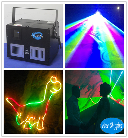 Free Shipping 5000MW ilda+dmx RGB Animation Laser Light