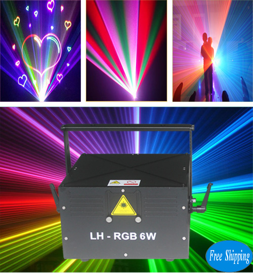 Free Shipping 6W Full Color RGB Laser Light With SD Card