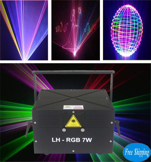 Free Shipping 7W ILDA+DMX512 sd card Light Show