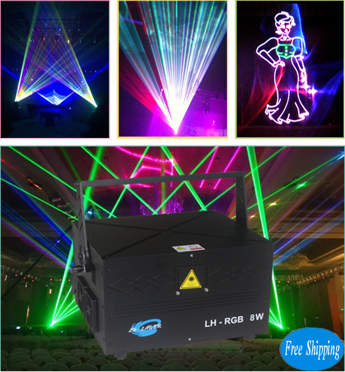 Free Shipping 8W Mini RGB Laser Disco Light