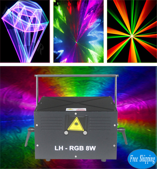 Free Shipping Cheap 8W Mini New Full Color RGB Laser Light