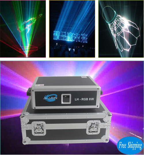 Free Shipping 8000mw RGB Disco Laser Projector
