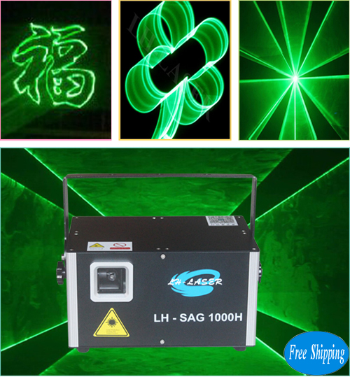Free Shipping ILDA+DMX512 1500mW SD Card Single Green Laser