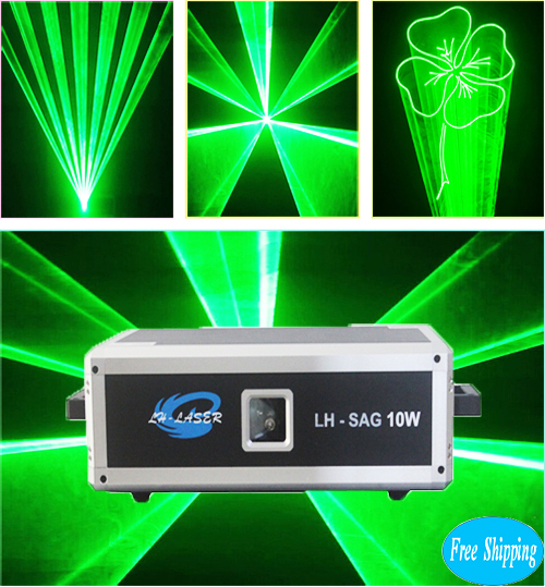 Free Shipping 10W SD Card Green Color Animation Laser
