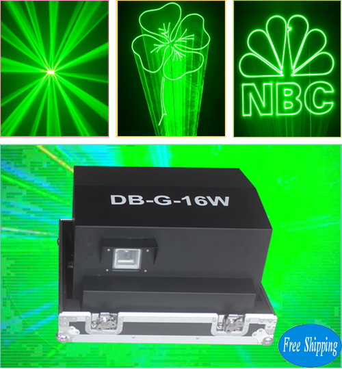 Free Shipping 16W Waterproof Green Disco Laser