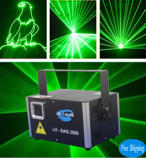 Free Shipping 2W Single Green Animation Laser Light