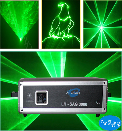 Free Shipping 3w green animations laser light projector