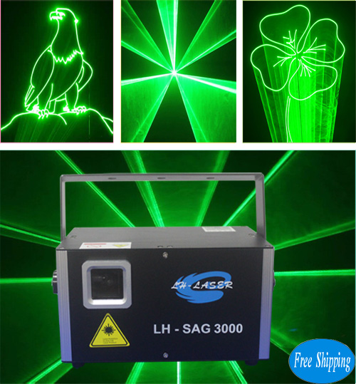Free Shipping 3W Green Animation Laser Disco Light