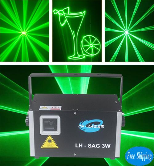 Free Shipping ilda+dmx512 3000MW Single Green Animation Light