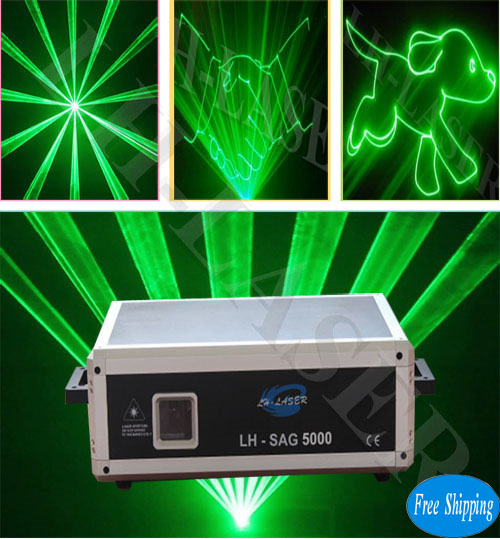 Free Shipping 5w green laser projector for logo and stage