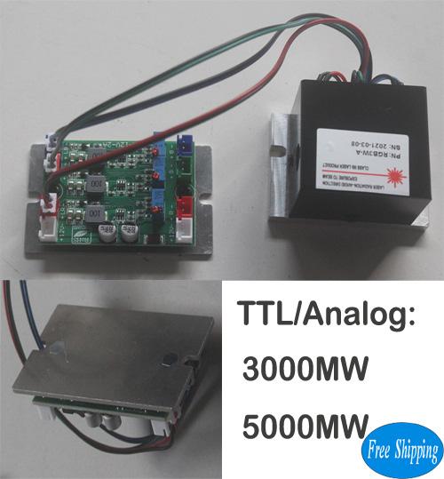 Free Shipping 3W/5W Analog RGB Laser Modules